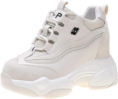 Zapatillas Altas De Mujer Zapatillas De Plataforma Plataforma De Malla Botines Canasta Color Mezclado Moda Running Zapatos De Senderismo Cordones Zapatillas De Aumento De Altura: Amazon.es: Zapatos y complementos