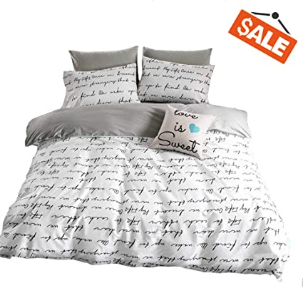 Amazon Com Vclife Cotton Duvet Cover Queen Bedding Sets Lightweight