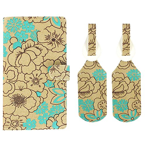 JAVOedge Poppy Long RFID Blocking Passport Case with Pen Holder and 2 Matching Luggage Tags (Turquoise)