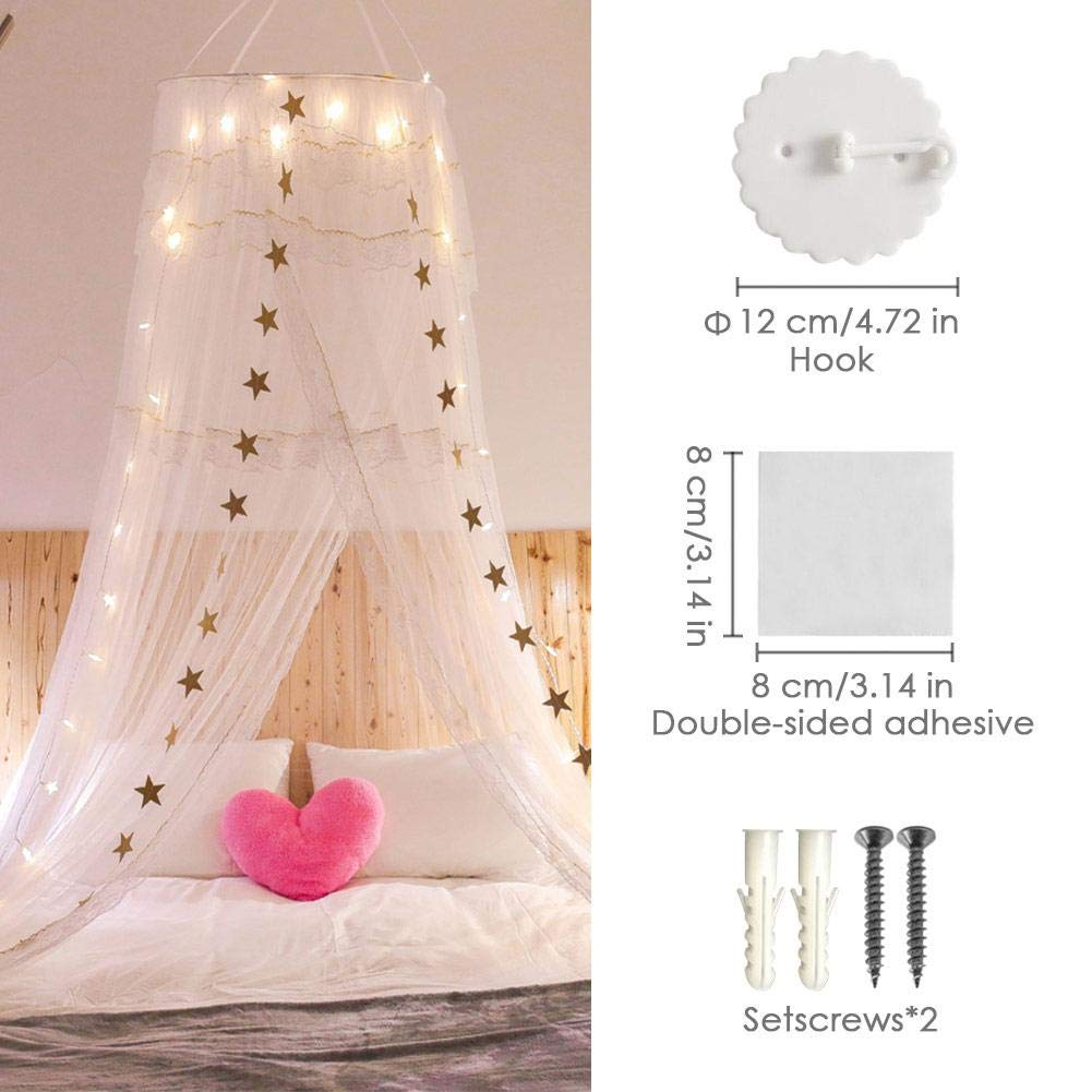 U-smile Round Mosquito Net Lace Princess Curtain Dome Bed Canopy Netting