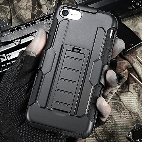iPhone 8 / iPhone 7 Case, Cocomii Robot Armor NEW [Heavy Duty] Premium Belt Clip Holster Kickstand Shockproof Hard Bumper Shell [Military Defender] Full Body Dual Layer Rugged Cover Apple (Black)