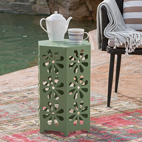 Lioness Outdoor 14 Inch Matte Green Iron Floral Side Table