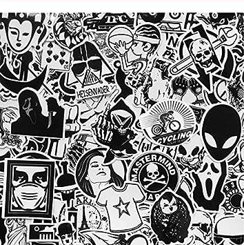 GYYNR 120Pcs Cool Black White Motorcycle Stickers Graffiti Bomb ...