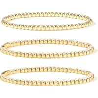 Gold Bead Bracelet for Women,14K Gold Plated Bead Ball Bracelet Stretchable Elastic Bracelet