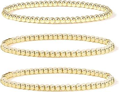 Beaded Bracelets for Women Stacking Bracelets Chunky Beaded Bracelet Agate Bracelets Gemstone Bracelet Set of 2 Bracelets Yellow Gray
