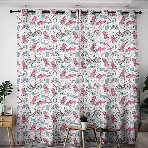 - AGONIU Grommet Curtains,Bicycle Teenager Girls Hipster Pink Casual Shoes Bicycle Birds Headphones Glasses Camera,Blackout Window Curtain 2 Panel,W96x72L Multicolor