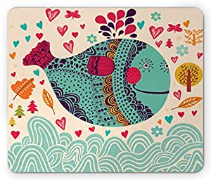 Whale Mouse Pad by Ambesonne, Colorful Ornamental Designed Big Whale with Waves Plants and Hearts around Print, Standard Size Rectangle Non-Slip Rubber Mousepad, Multi Colored