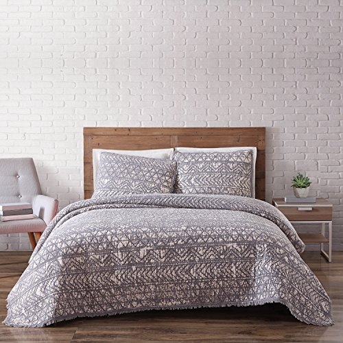 Brooklyn Loom Sand Washed Cotton Quilt Set, Full/Queen, Gray