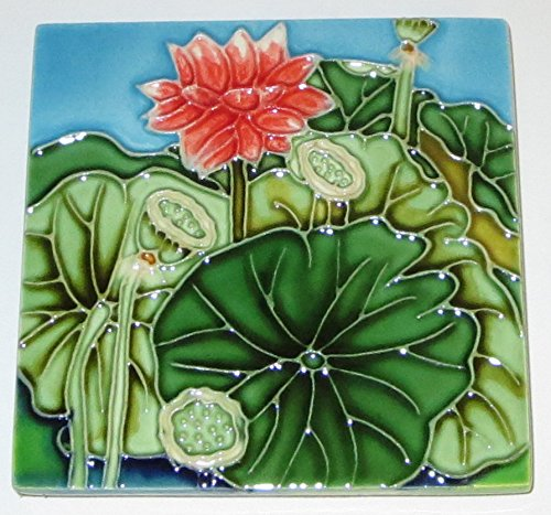 Continental Art Lotus Flower And Seedpods Art Tile Ceramic Decorative 4 Inch by 4 Inch SD-184