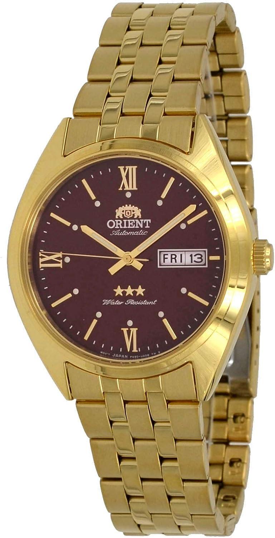 Orient RA-AB0E12R Reloj automático para hombre de 3 estrellas, tono dorado, acero inoxidable, esfera roja, fecha de día