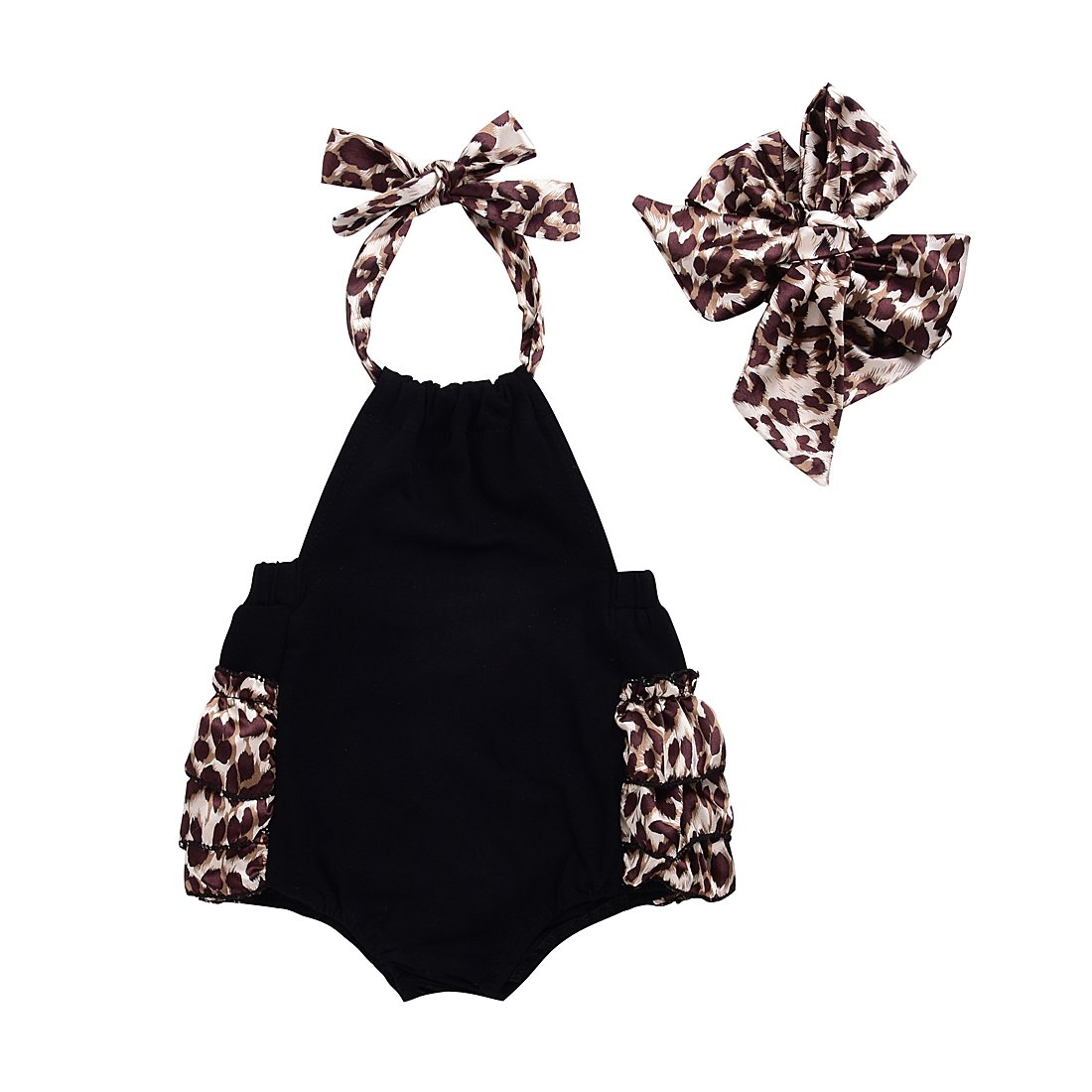 【海外 正規品】 Baby B071L4T5HV Girls Baby LovelyホルターバックレスLeopardフリルone-piecesボディスーツとヘッドバンド B071L4T5HV Black&leopard 0 - - 3 Months 0 - 3 Months|Black&leopard, アドヴァンス ジャパン:ed7a03b7 --- svecha37.ru