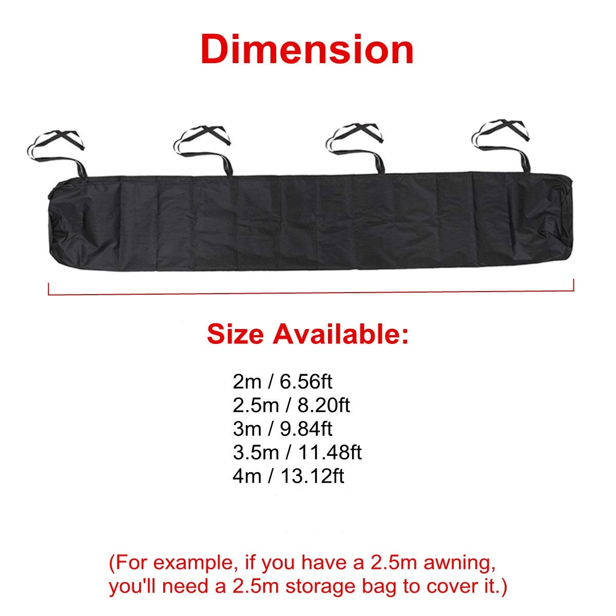 Black Protective Awning Cover Storage Bag with String for Outdoor Garden Sun Protection Waterproof Rain Snow 2m//6.56ft