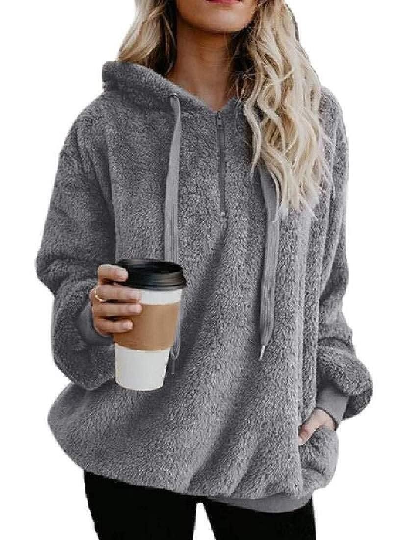Abeaicoc Womens Fuzzy Long Sleeve Fleece 1//4 Zip Pullover Sweatshirts Hooded Tops