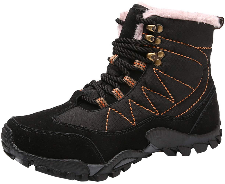 RSHENG Schuhe Stiefel Für Herren High-Top Leder Wanderschuhe Warme Outdoor-Baumwollschuhe Schneestiefel