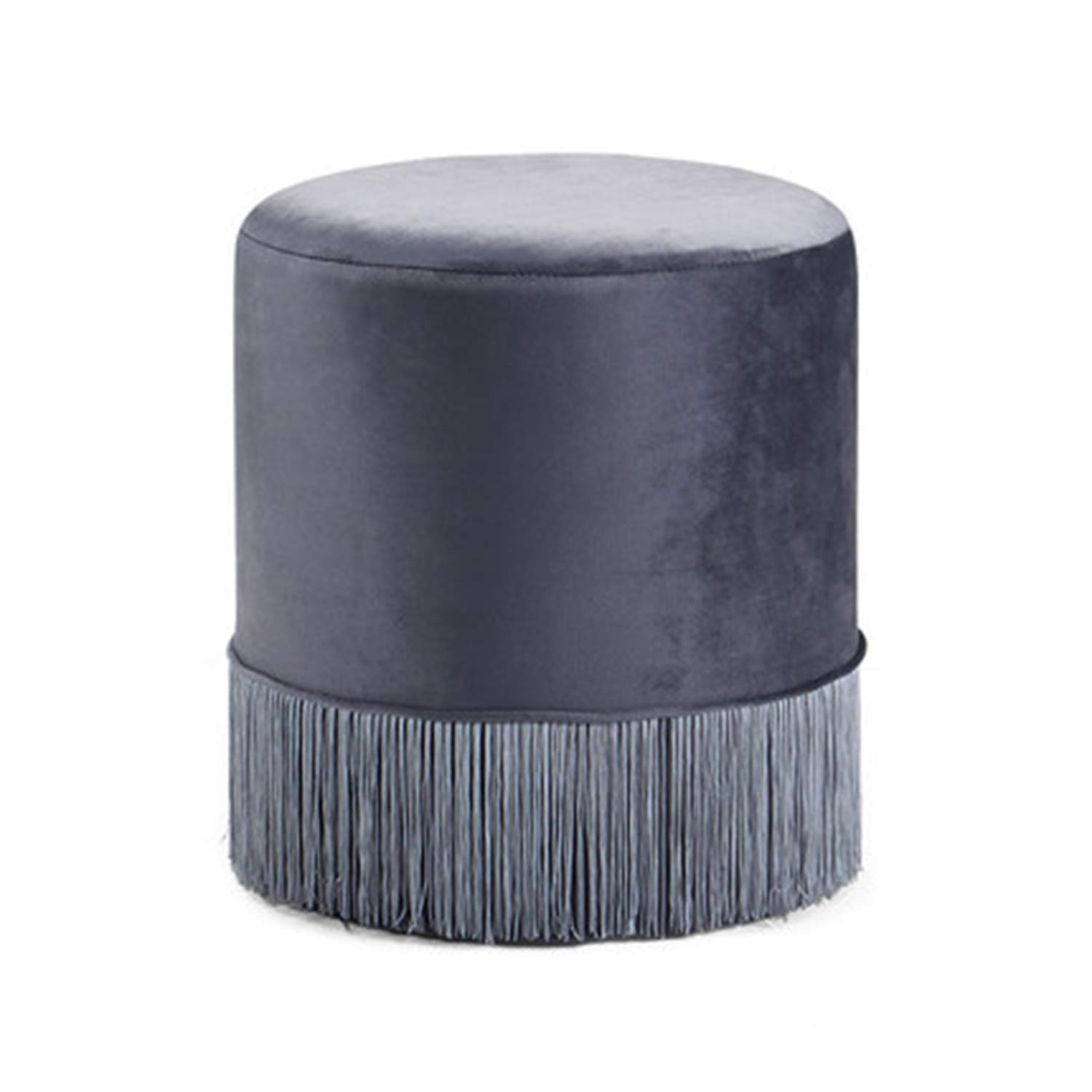 QYQCX Bright Color Shoe Bench, Tassel Footstool, Simple Dressing Stool, Ottoman Gray