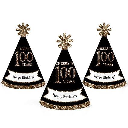 Amazon.com: Adulto – oro – Mini cono de 100o cumpleaños ...