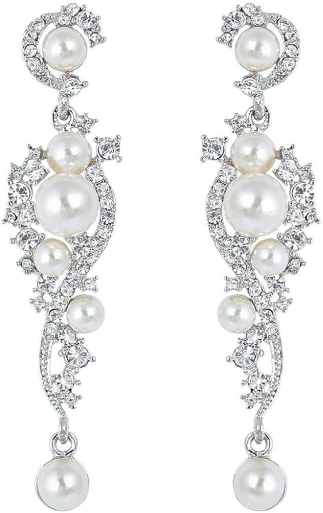 EVER FAITH® - Cristal Austriaco Color Marfil Perla Simulado Novia Pendientes Claro N04939-1