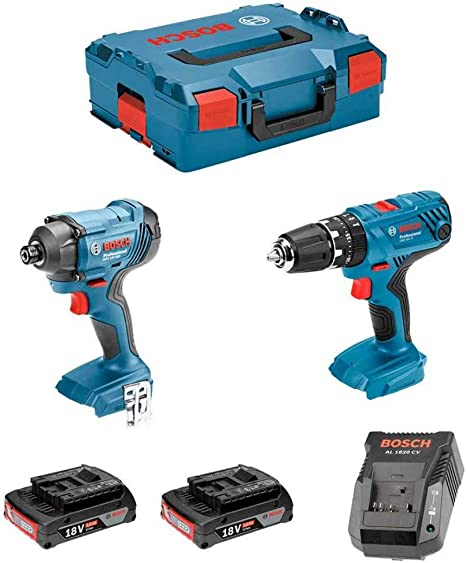 Bosch 0615990L41 - Pack Taladro percutor a batería GSB 18V-21 Professional + Atornillador de impacto GDR 18V-160 + 2 baterías de 2,0 Ah. 1 Cargador AL 1820CV. Maletín L-BOXX.: Amazon.es: Bricolaje y herramientas