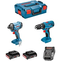 Bosch 0615990L41 - Juego de taladro percutor con batería GSB 18V-21 Professional, atornillador de impacto GDR 18V-160, 2…