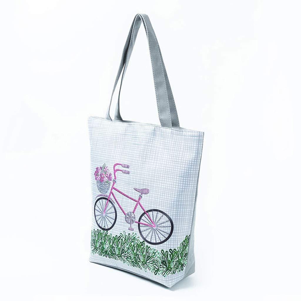 HLD mode sport dam axelväska cykel blommönster kvinnor shoppingväska tygväska kvinnor shoppingväska strandväska messengerväskor (färg: D) b