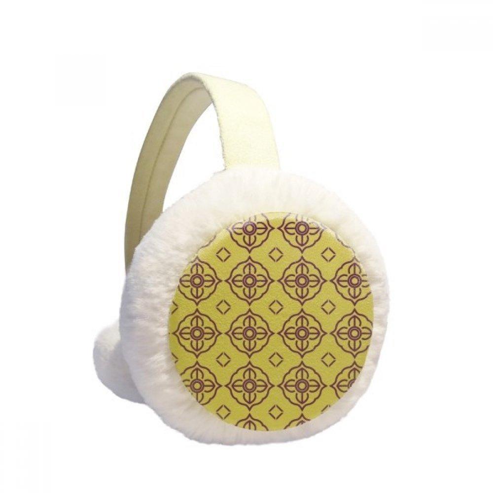 Thailand Golden Purple Decorative Illustration Winter Earmuffs Ear Warmers Faux Fur Foldable Plush Outdoor Gift