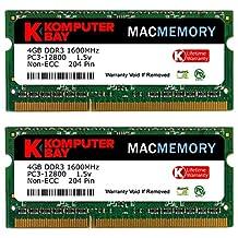 Komputerbay MACMEMORY 8GB (2x 4GB) DDR3 PC3-12800 1600MHz SODIMM 204-Pin Laptop Memory for Apple Mac