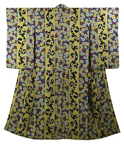 アシスタントファンタジーレパートリーアンティーク 着物 縞に唐草や花模様 個性的 裄60.5cm 身丈146cm