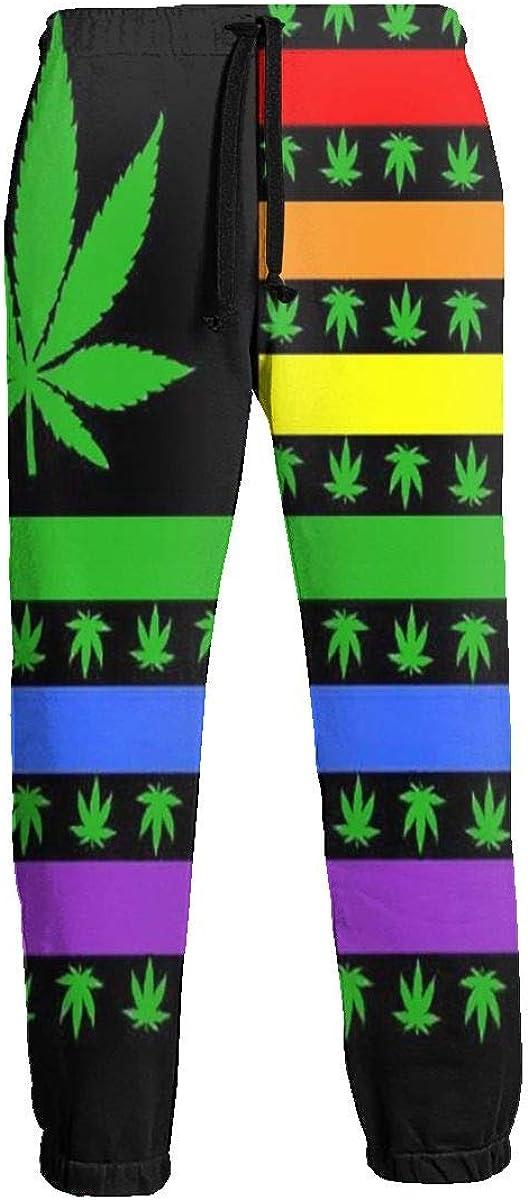 CLERO/& Mens 3D Printed Jogger Pants Rainbow Marijuana USA Gay Pride Flag Trousers Baggy Sweatpants with Drawstring