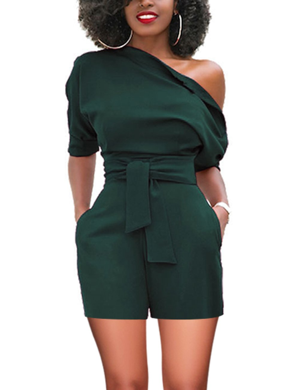 Vilover Women's Sexy Off Shoulder Ruffle Short Romper Jumpsuit (XL, Green#)