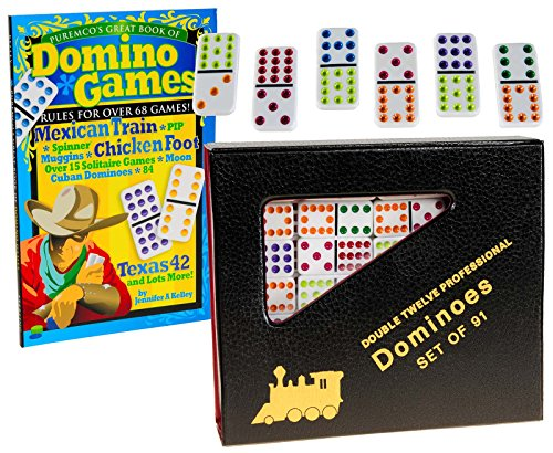Dominoes Double 12, Mexican Train Set _ White Professional-Size Tiles with Color DOTS _ Includes Train Markers and Sound Hub _ Bonus Great Book of Dominoe Games_ Bundled Items