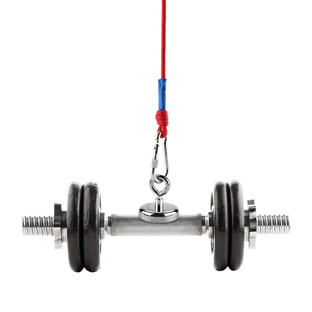 Wukong N52 Holding pull force 330LBS Neodymium Eyebolt Magnet,Diameter x 60mm Thick x 15mm 150KG Fishing clamping magnet and 6mm Braided Rope x 66ft
