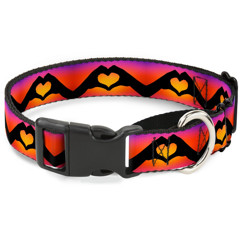 Buckle-Down MGC-W33409-S Hand Heart Silhouette Ombre Purples orange Pinks Martingale Dog Collar, Small
