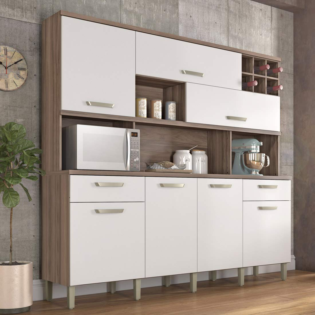 Armário de Cozinha 7 Portas 2 Gavetas Master Nesher Móveis Branco/Madeirado