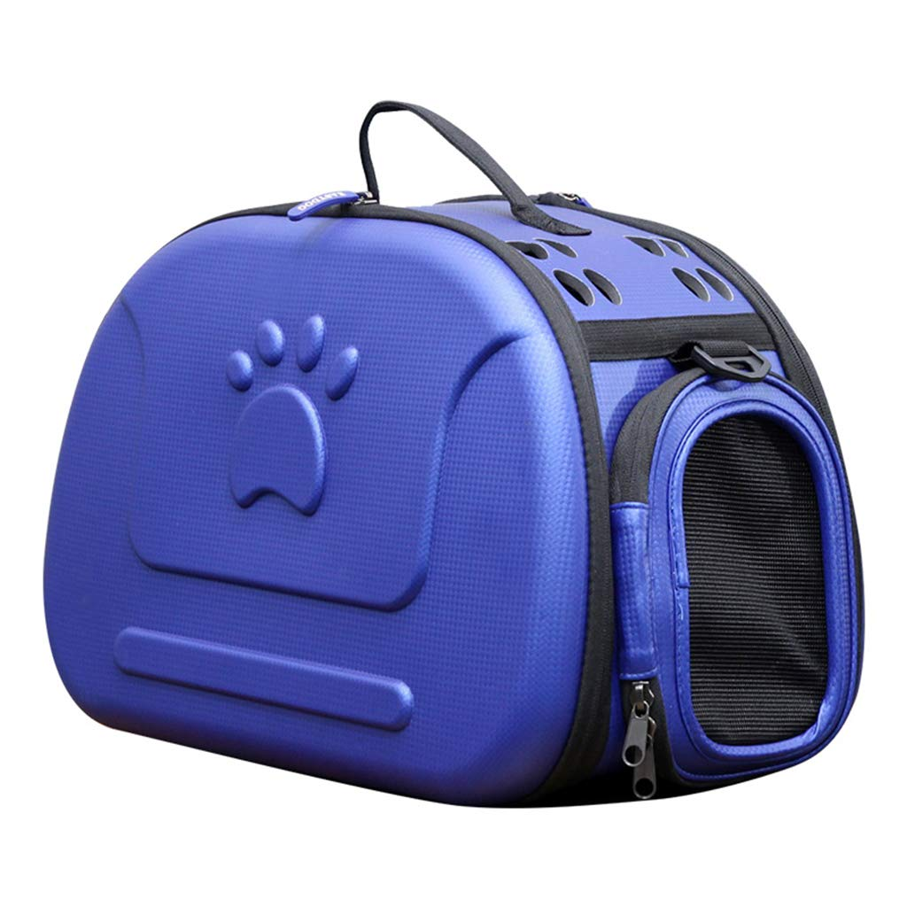 bluee Portable Pet Backpack SoftSided Collapsible EVA Pet Travel Carrier with Mesh Windows, Pgoldus Design, Best for Small Dogs and Cats