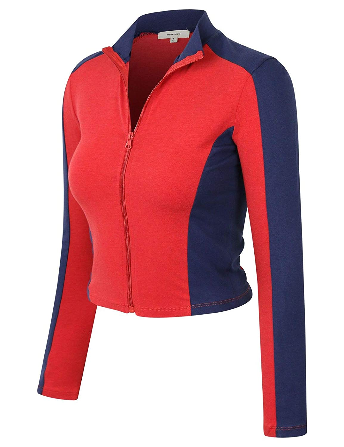 makeitmint Womens Comfy Zip Up Thin Breathable Yoga Gym Work Out Track Jacket YJZ0080-RED-MED