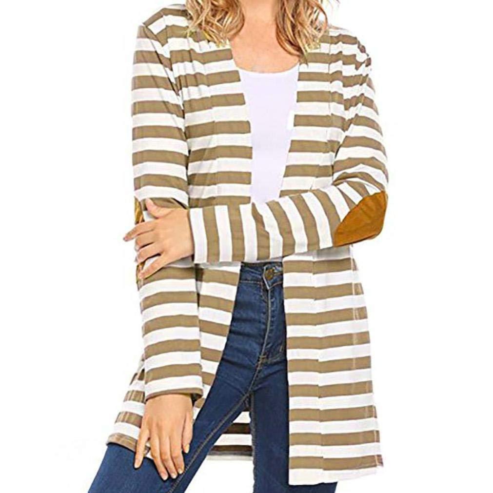 UONQD Women Coat Long Sleeve Oversized Striped Cardigans Patchwork Outwear (Small,Khaki)
