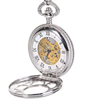 Antique Hunter Quartz Roman Numerals Pocket Watch for Men with Chain Silver