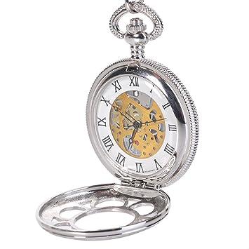 Amazoncom Antique Mens Silver Quartz Roman Numerals Pocket Watch