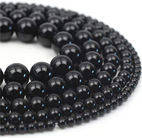 Natural Stone Beads 4mm Black Chalcedony Agate Gemstone Round Loose Beads Crystal Energy Stone Healing Power for Jewelry Making DIY,1 Strand 15