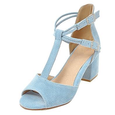 2412ef63a514 AIYOUMEI Peep Toe Sandalen mit 6cm Absatz und Schnalle T-Spangen Sandalen  Sommer High Heels Schuhe - nachhilfe-logo.de