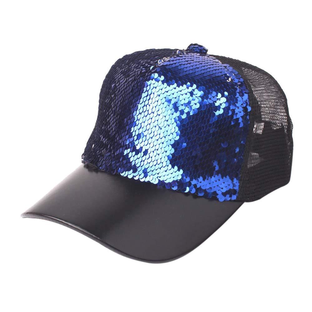 Suma-ma Unisex Sequins Patchwork Mesh Cap Fashion Baseball Caps Outdoor Net Sun Hats(Blue,B)