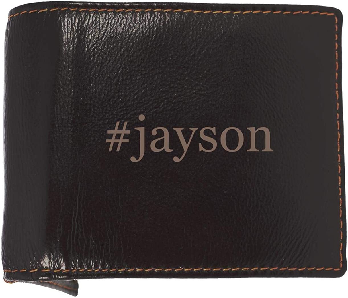 #jayson - Soft Hashtag Cowhide Genuine Engraved Bifold Leather Wallet