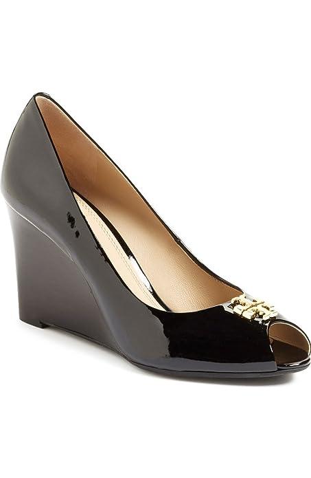 5717b98ff30 Tory Burch Jade 85MM Peep Toe Wedge Black Heel Sandal Size 7.5  Amazon.ca   Shoes   Handbags