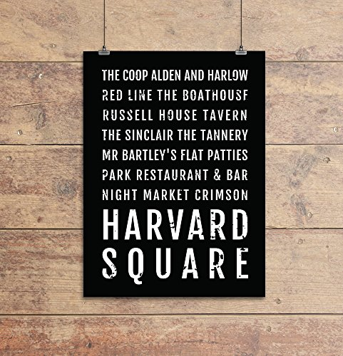 (Harvard Square Print, Cambridge Subway Sign Poster, Boston Wall Art, Décor, Canvas, Gift, Bus Scroll, Minimal, Custom, Personalized)