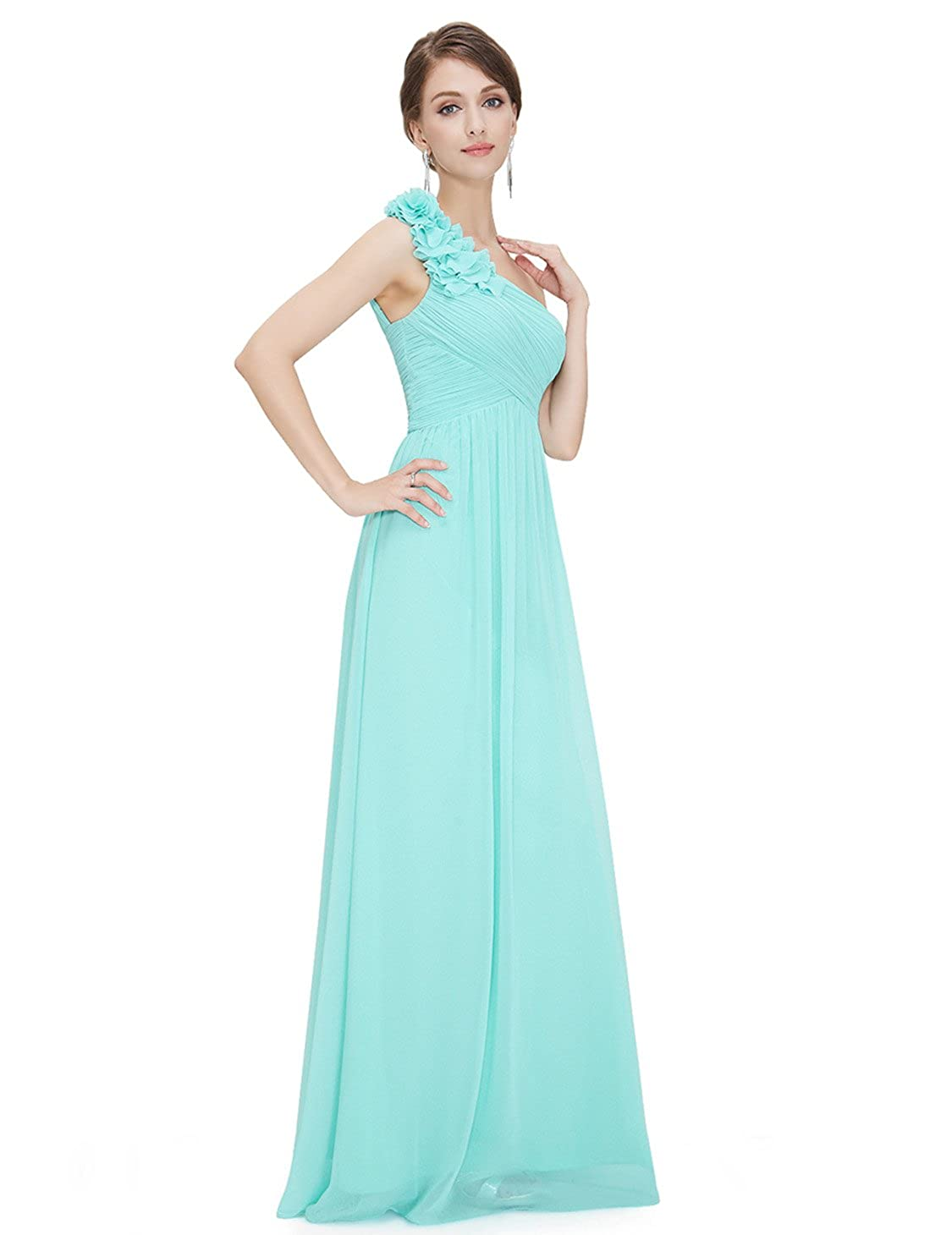 Ever Pretty Flower One Shoulder Long Bridesmaids Evening Party Dress