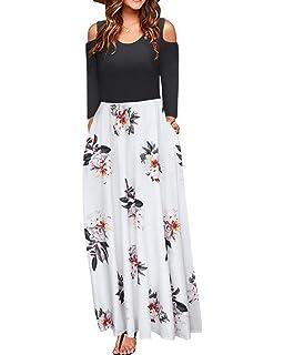 76fb0f20f1 STYLEWORD Women's Cold Shoulder Floral Print Elegant Long Sleeve Maxi Dress  with Pocket(Floral006,