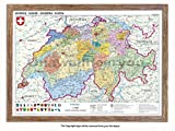 Laminated Posters Framed - Map Of Switzerland Push Pin Memo Notice Board - Natural Driftwood Effect - Matt Finish - Measures 96.5 x 66 cms (38 x 26 Inches - Approx)