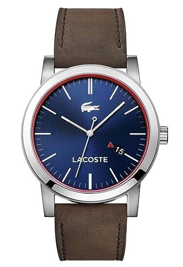 3ff3a5427bdd Lacoste 2010848 - Reloj análogico de cuarzo con correa de cuero para hombre