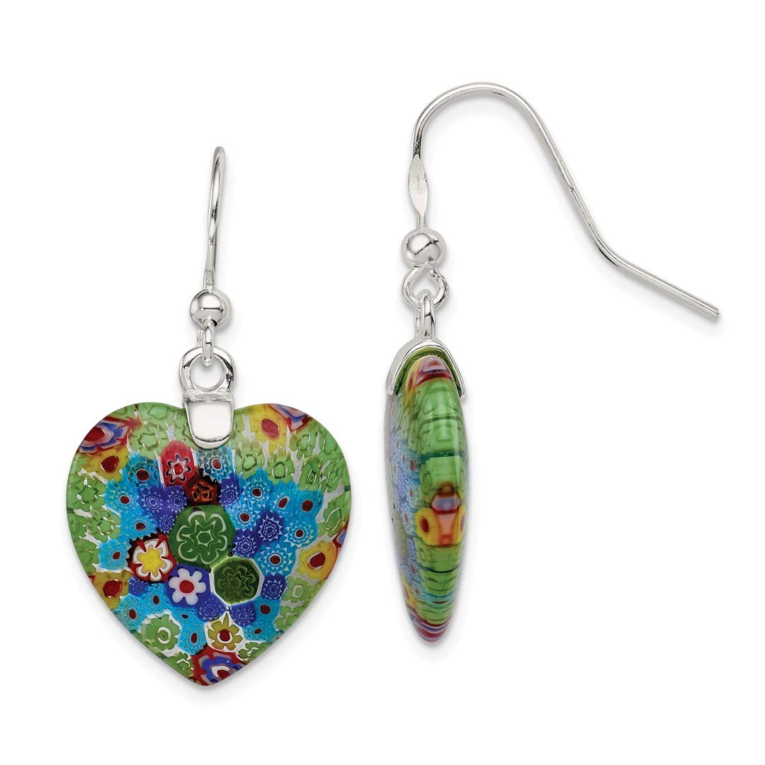 ICE CARATS 925 Sterling Silver Multicolored Glass Heart Drop Dangle Chandelier Earrings Love Fine Jewelry Ideal Gifts For Women Gift Set From Heart by ICE CARATS (Image #1)