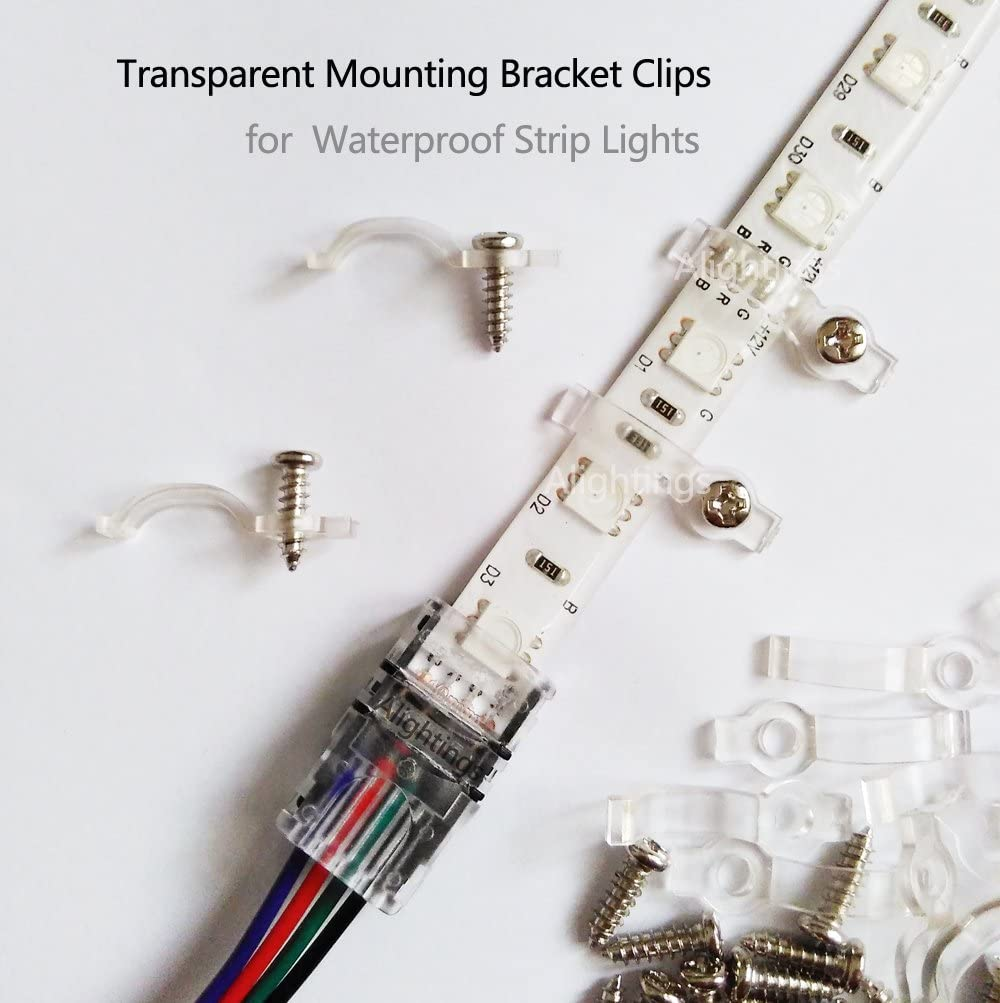 Alightings 100pcs LED Strip Mounting Bracket Clips for 12mm Wide PCB 5050 SMD Non-Waterproof LED Strip Lights 100pcs Screws Included One-Side Fixing
